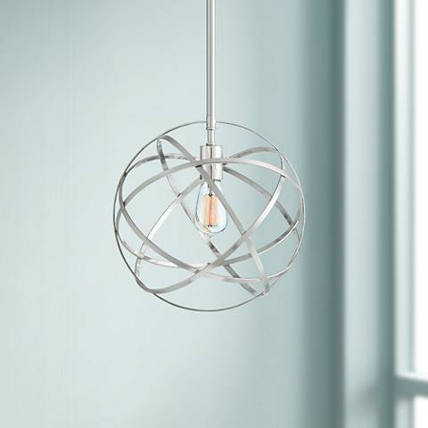 "Industrial Atom 13"" Wide Brushed Nickel Orb Pendant Light"