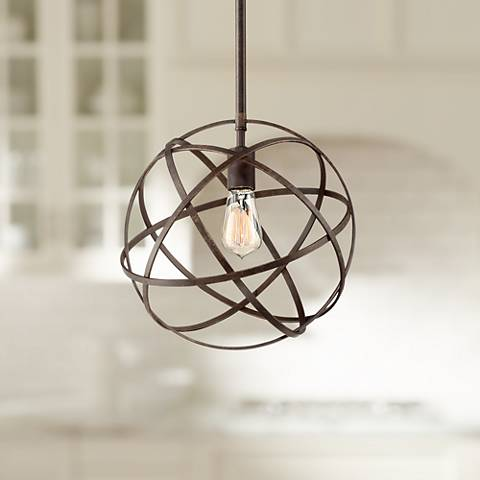 "Industrial Atom 12 3/4"" Wide Bronze Orb Pendant Light"