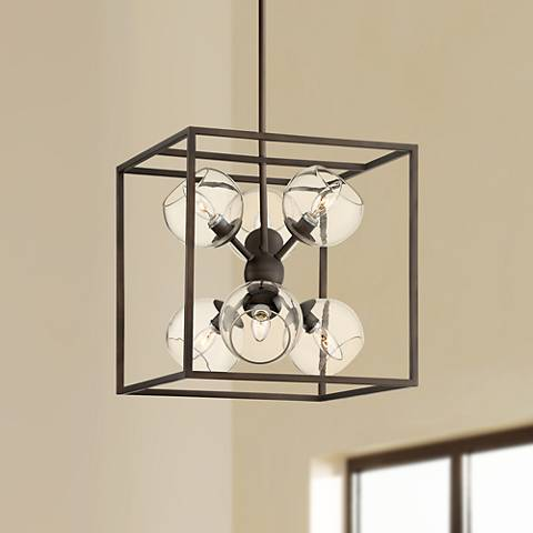 "Sputnik-In-Cube 16"" Wide Bronze 6-Light Pendant Chandelier"