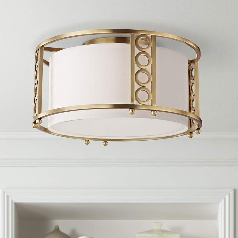 "Hudson Valley Infinity 16"" Wide Aged Brass Ceiling Light"