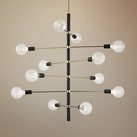"Mitzi Astrid 36""W Aged Brass and Black 12-Light Chandelier"
