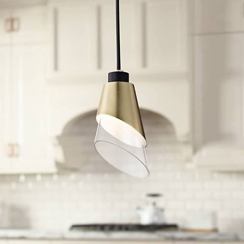 "Mitzi Angie 4 3/4"" Wide Aged Brass LED Mini Pendant"