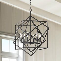 "Possini Euro Tangle 23"" Wide Bronze 6-Light Entry Pendant"