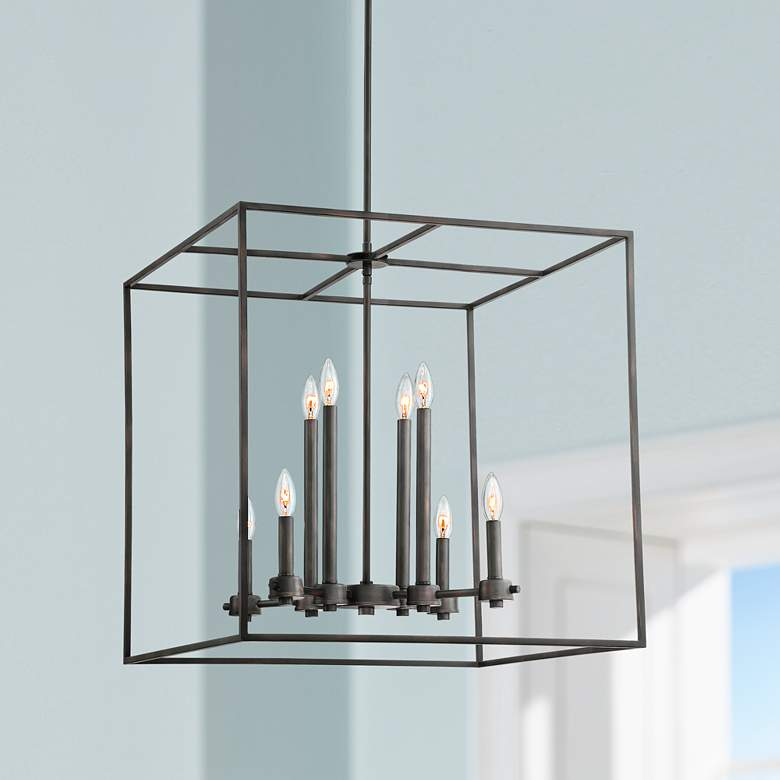 "Baxter 24""W Oiled-Rubbed Bronze Cage 8-Light Entry Pendant"