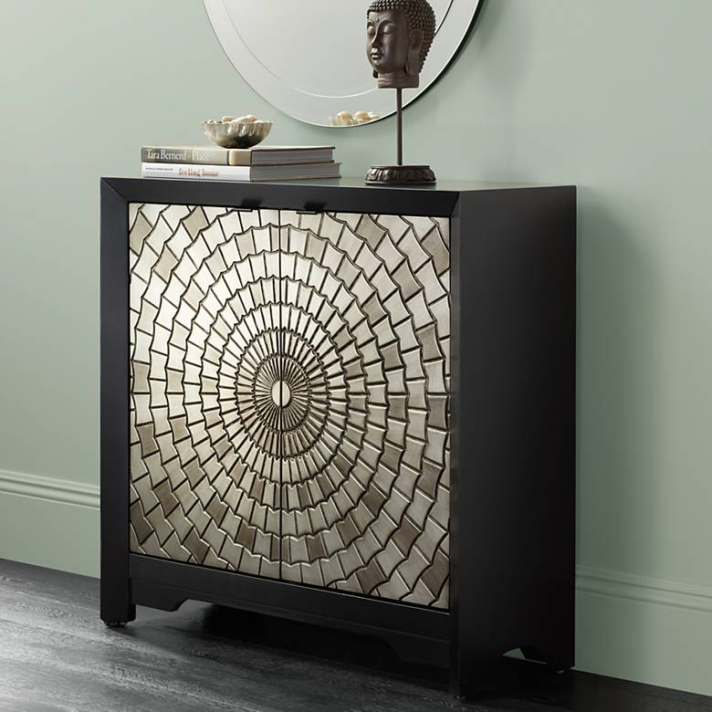 "Martin 38"" Wide Black and Pewter Mosaic 2-Door Accent Chest"