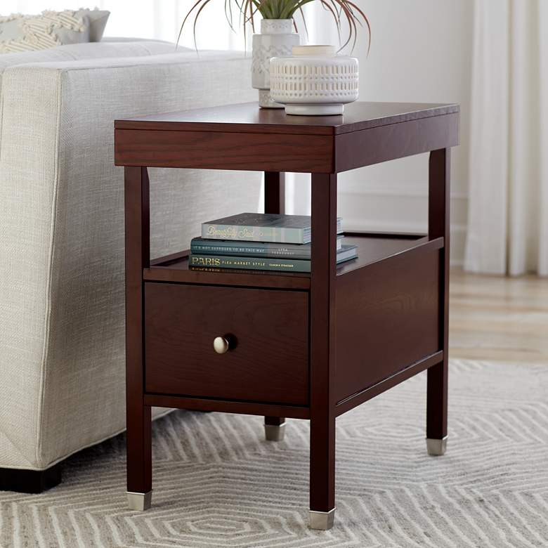 "Huntley Espresso 15 1/4"" Wide Narrow Chairside Accent Table"