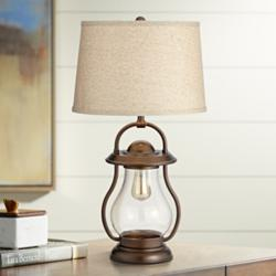 Fredrik Bronze Industrial Lantern Night Light Table Lamp