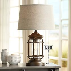 Andreas Industrial Night Light Table Lamp with USB Port