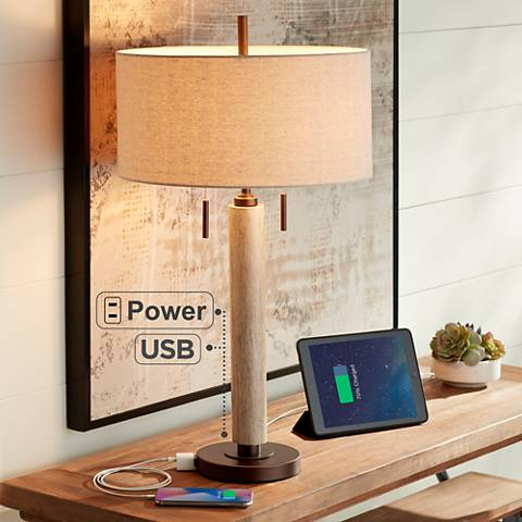 Hugo Wood Column Table Lamp with USB Port