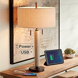 Hugo Wood Column USB Table Lamp