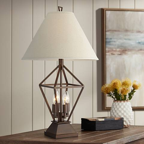 Jenna Oil-Rubbed Bronze Table Lamp with Night Light