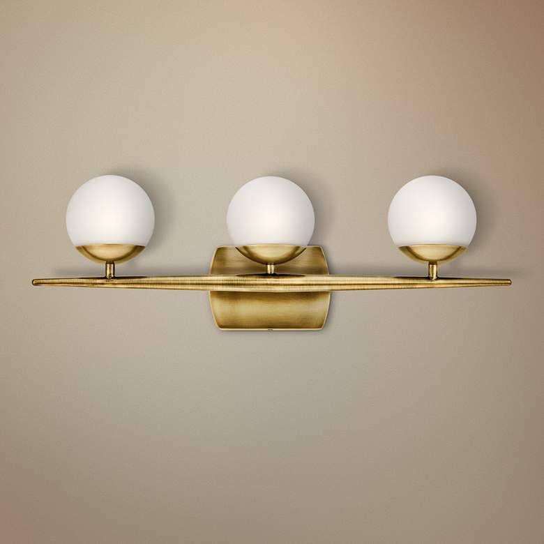 "Jasper 24 1/2"" Wide Natural Brass 3-Light Halogen Bath Light"
