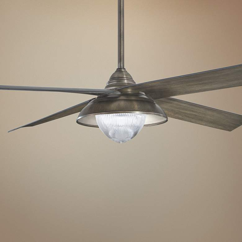 "56"" Minka Aire Shade Heirloom Bronze LED Outdoor Ceiling Fan"