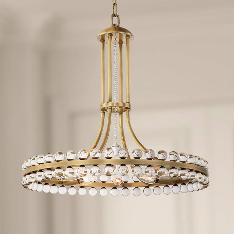 "Crystorama Clover 22 1/2""W Aged Brass and Crystal Chandelier"