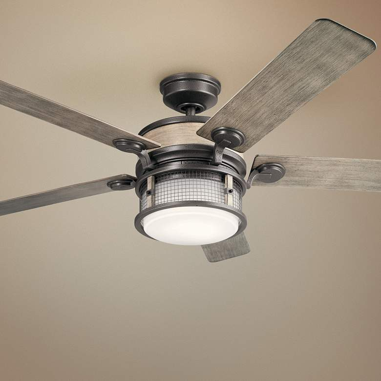 "60"" Kichler Ahrendale Anvil Iron LED Outdoor Ceiling Fan"