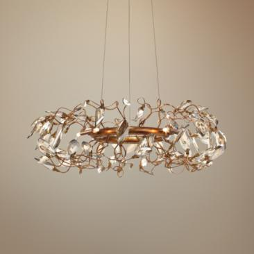 "Maxim Crystal Garden 18 1/4"" Wide Golf Leaf Pendant Light"
