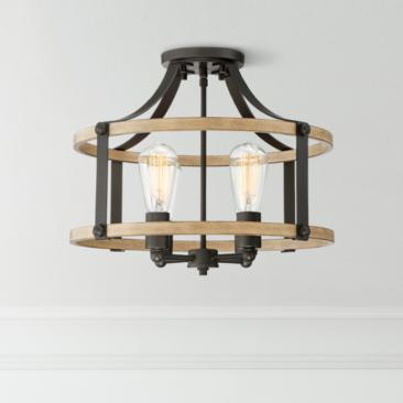 "Buford 18"" Wide Wood and Metal 4-Light Ceiling Light"