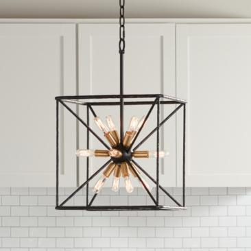 "Gantz 15"" Wide Bronze and Warm Brass 12-Light Foyer Pendant"
