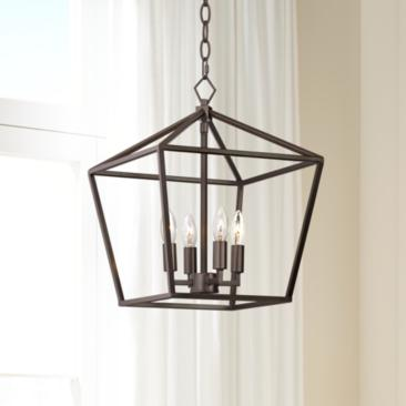 "Queluz 13"" Wide Bronze 4-Light Entry Pendant Light"