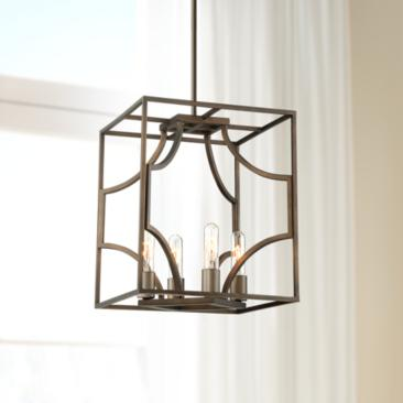 "Possini Euro Carrington 14"" Wide Bronze 4-Light Pendant"