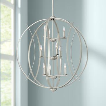 "Spherical 32 3/4""W Brushed Nickel 9-Light Pendant"