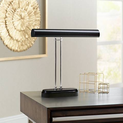 "Black and Chrome 16"" Wide Piano Desk Lamp"