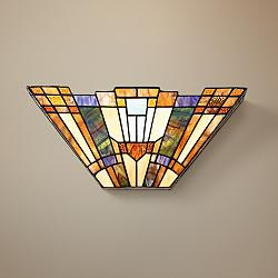 "Quoizel Inglenook 16"" Wide Tiffany-Style Pocket Wall Sconce"