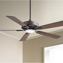 "52"" Minka Aire Contractor Oil-Rubbed Bronze LED Ceiling Fan"