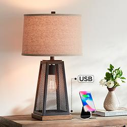 Barris Metal USB Table Lamp with LED Night Light