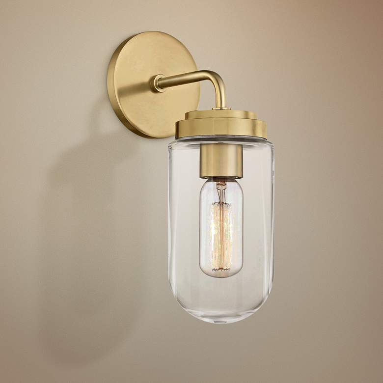 "Mitzi Clara 12 1/4"" High Aged Brass Wall Sconce"