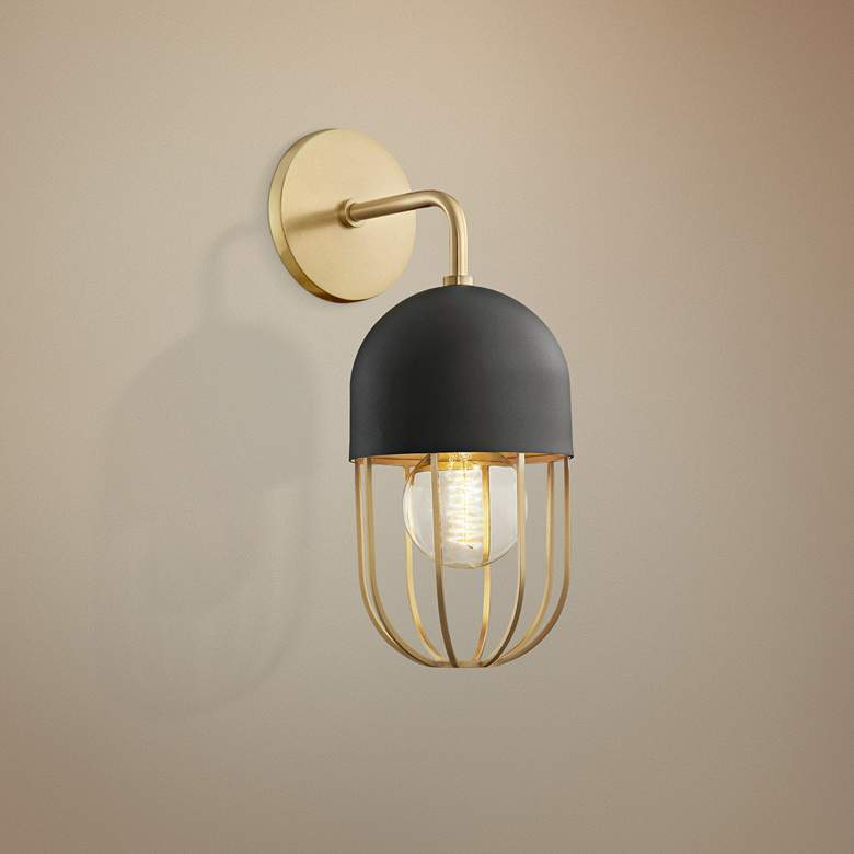 "Mitzi Haley 14"" High Aged Brass Wall Sconce"