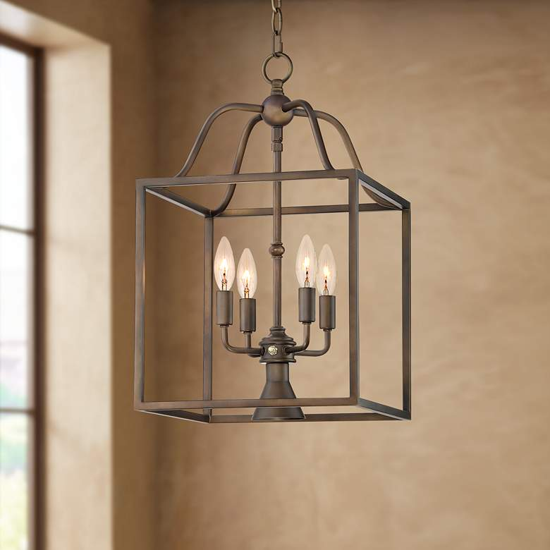 "Elle 13"" Wide Bronze Open Cage Pendant with"