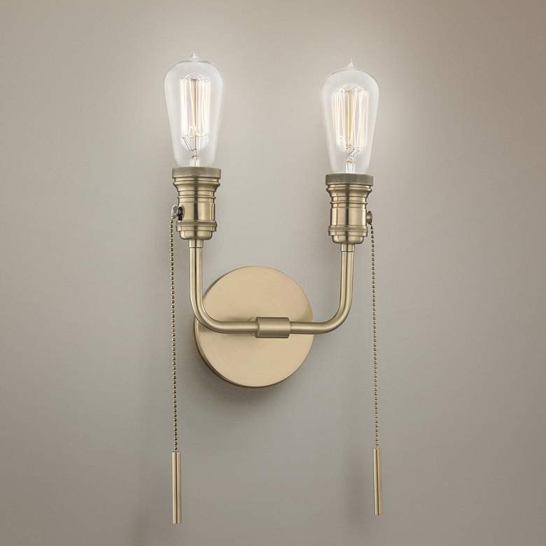 "Lexi 12 1/4""H Aged Brass 2-Light Pull Chain Wall Sconce"