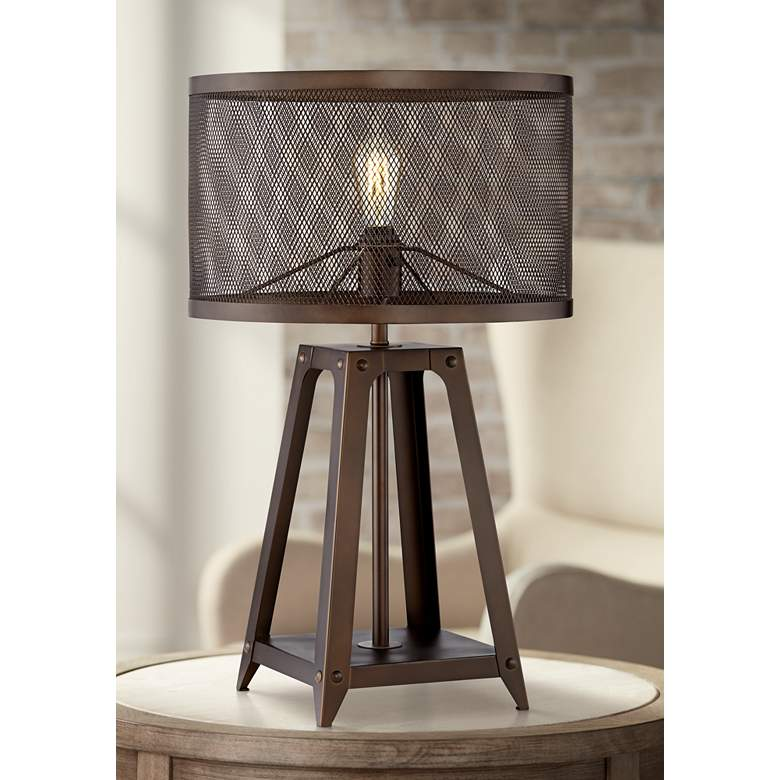 Gabe Metal Mesh Shade Farmhouse Table Lamp