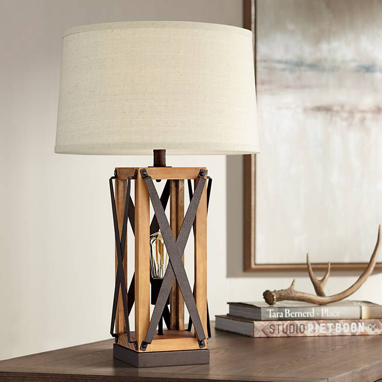 Gaines Farmhouse Style Night Light Table Lamp