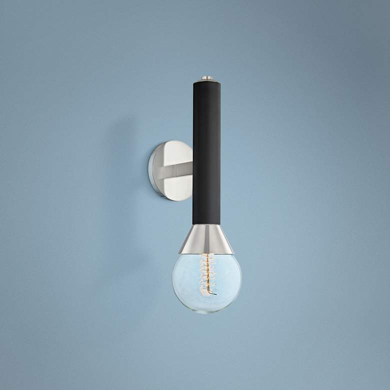 "Mitzi Via 17 1/2""H Polished Nickel and Black Wall Sconce"