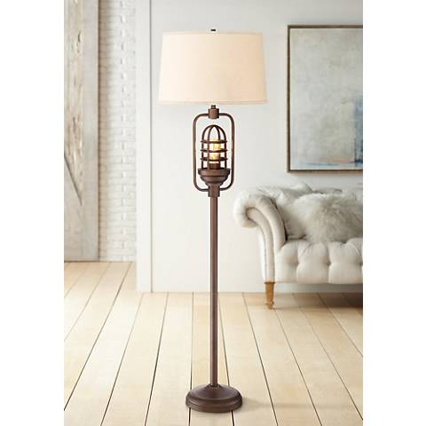 Hobie Oil-Rubbed Bronze Floor Lamp w/ Edison LED Night Light