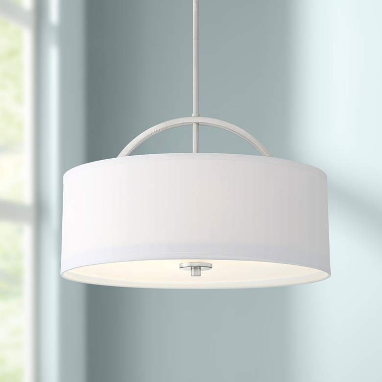 "Possini Euro Carina 20"" Wide Brushed Nickel Pendant"