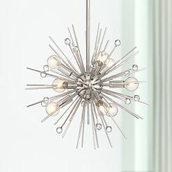 "Possini Euro Janae 18"" Wide Polished Nickel Pendant Light"