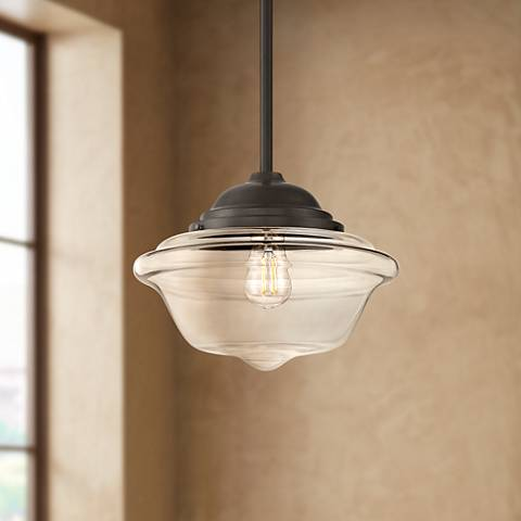 "Possini Euro Schoolhouse 13"" Wide Bronze LED Pendant Light"