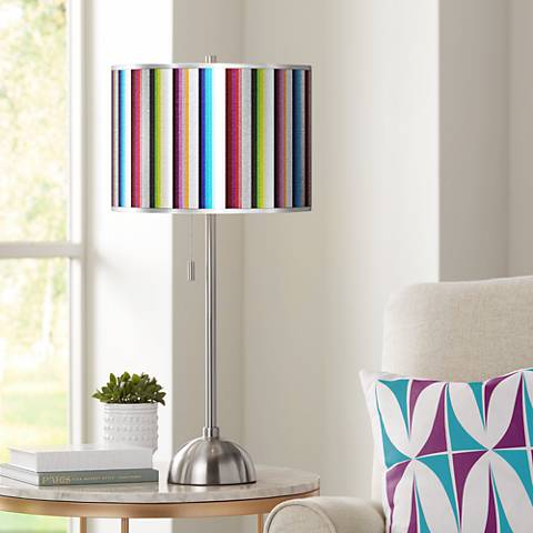 Technocolors Silver Metallic Giclee Brushed Steel Table Lamp