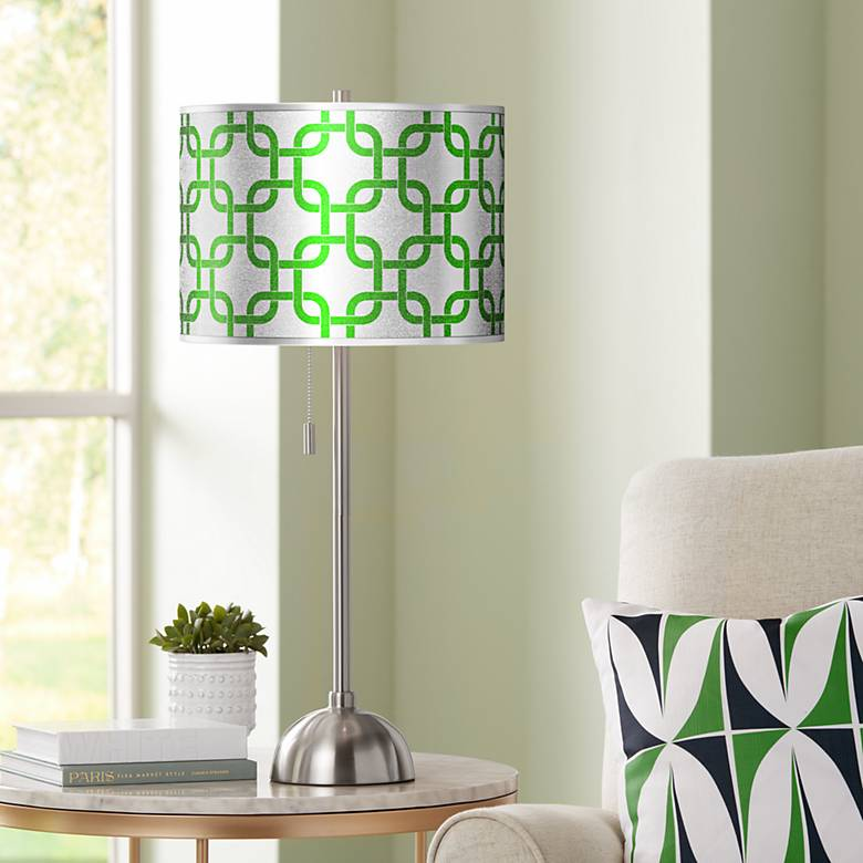 Lattice Silver Metallic II Giclee Brushed Nickel Table Lamp