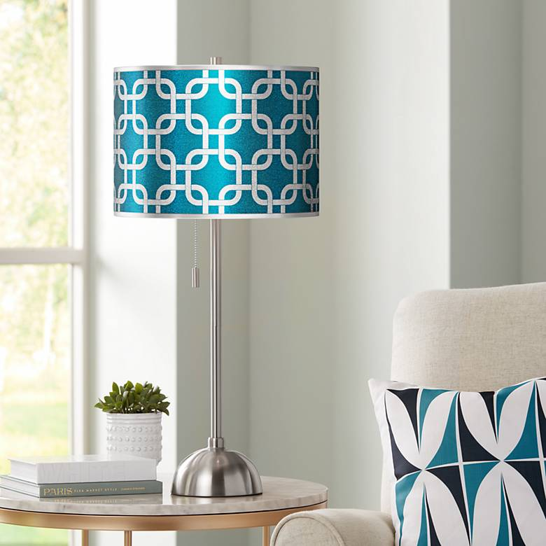 Lattice Silver Metallic I Giclee Brushed Nickel Table Lamp