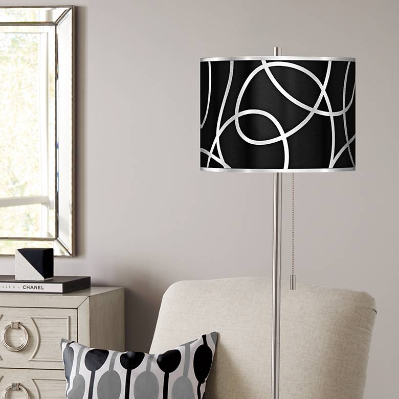 Abstract Silver Metallic Brushed Nickel Pull Chain Floor Lamp