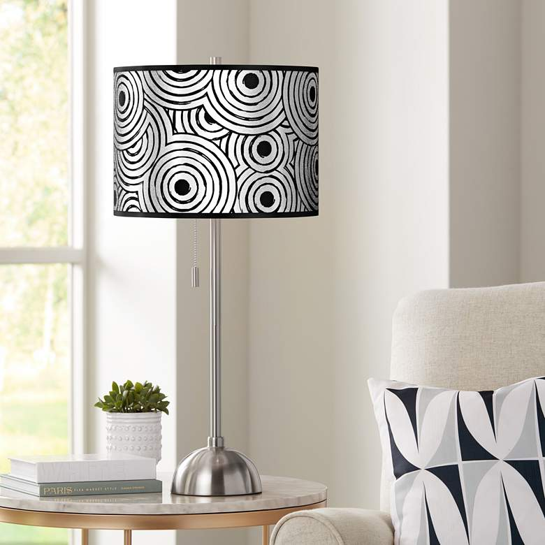 Circle Daze Silver Metallic Giclee Brushed Nickel Table