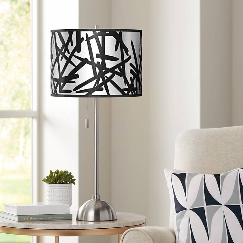 Sketchy Silver Metallic Giclee Brushed Nickel Table Lamp