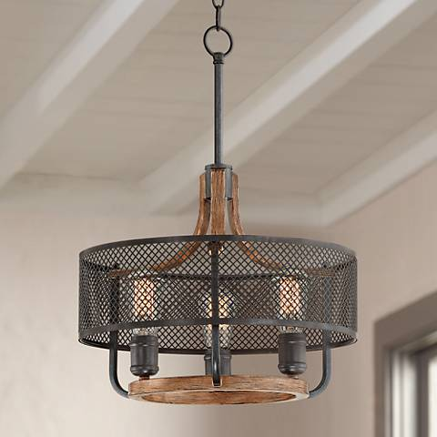 "Halvor 15 3/4"" Wide Black Mesh and Wood 3-Light Pendant"