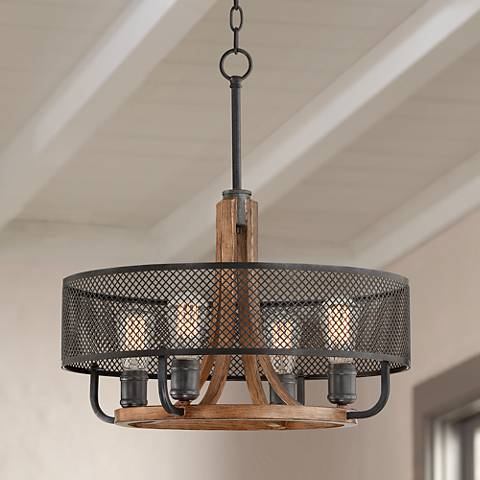 "Halvor 20"" Wide Black Mesh and Wood 4-Light Pendant"
