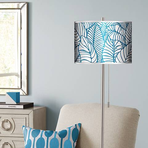 Tropical Leaves Silver Metallic Brushed Nickel Floor Lamp