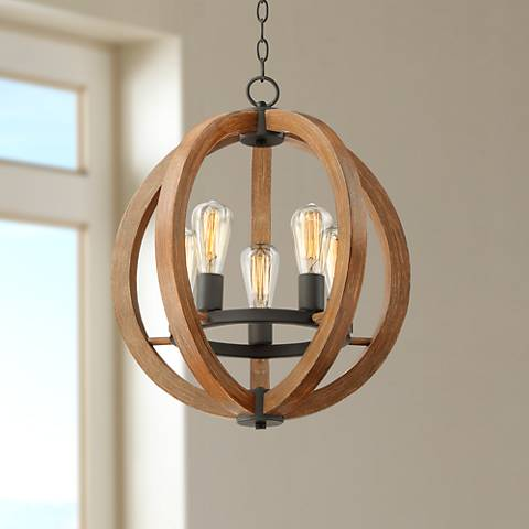 "Cass 19"" Wide 5-Light Wood Orb Pendant by Possini Euro"